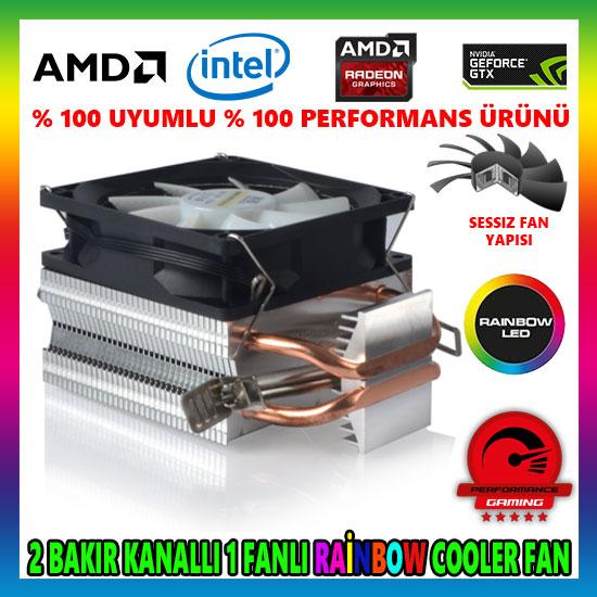 Snowman M200 Rainbow Bakır Kanallı CPU Soğutucu Fan