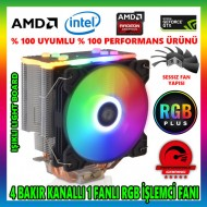 Snowman T4 Fan RGB Light Board 4 Bakır Kanallı CPU Soğutucu Fan