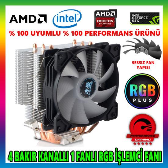 Snowman T4 Fan RGB 4 Bakır Kanallı CPU Soğutucu Fan