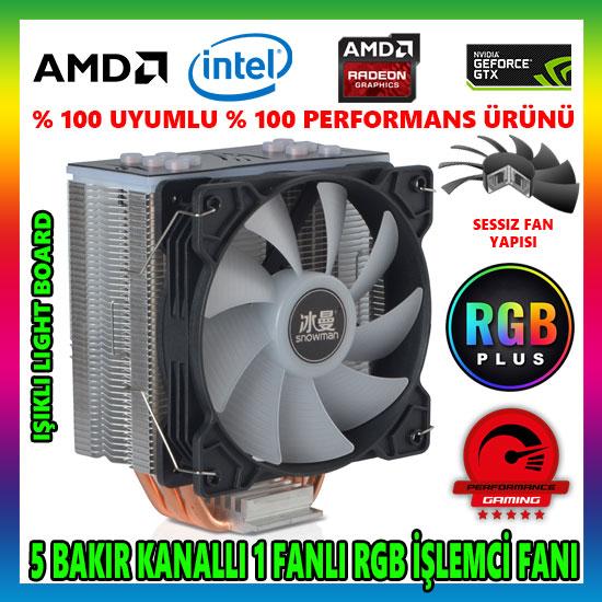 Snowman T5 Fan RGB Light Board 5 Bakır Kanallı CPU Soğutucu Fan