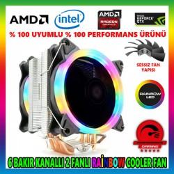 Snowman T6 Rainbow 6 Bakır Kanallı CPU Soğutucu Fan