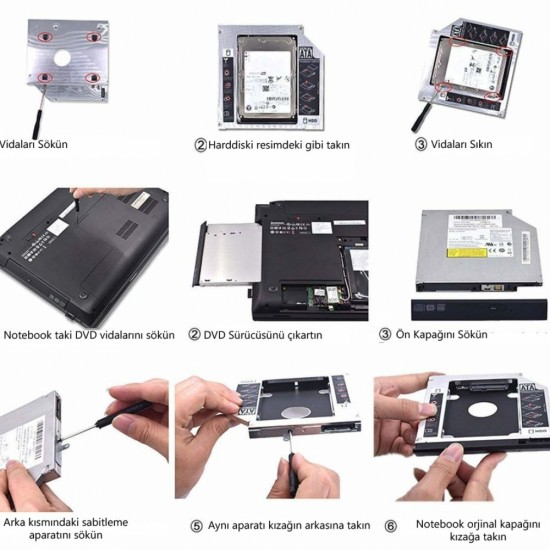 NOTEBOOKLAR İÇİN HDD / SSD YUVASI 12.7 mm