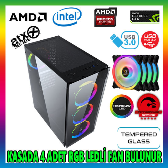 GAMETECH Ares Rainbow 4x120mm Fan Gaming Oyuncu Kasası