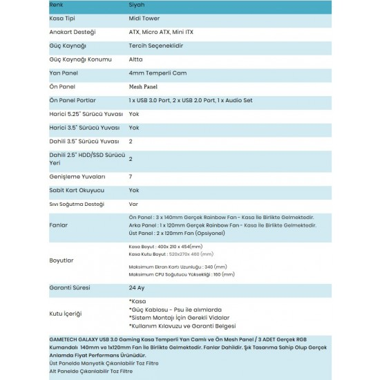 GAMETECH GALAXY KUMANDALI RGB 4x140mm 1X120mm Fan Gaming Oyuncu Kasası