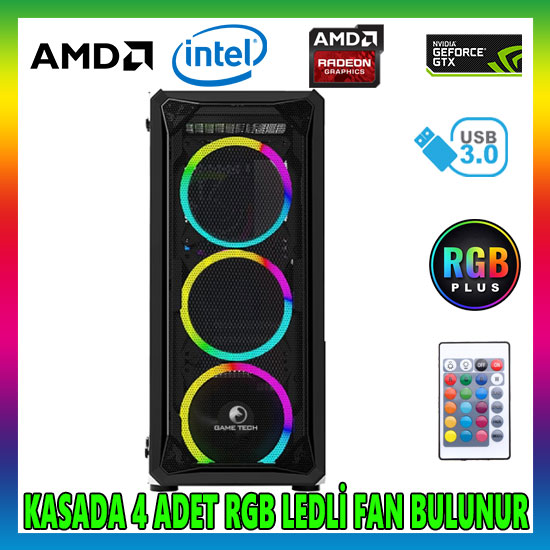 GAMETECH VELAR Rgb 4x120mm Fan Gaming Oyuncu Kasası