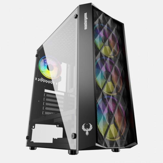 MasterGame ANQA 4x12cm Autoring Rgb Fan Temper Cam Gaming Oyuncu Kasası