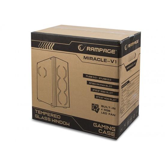 Rampage MIRACLE-V1 4x120mm RGB Fanlı Kumandalı Tempered Glass Profesyonel Gaming Oyuncu Bilgisayar Kasası
