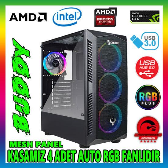 Zoko BUDDY 4x12cm Autoring Rgb Fan Temper Cam USB 3.0 ATX Tower Profesyonel Gaming Oyuncu Bilgisayar Kasası