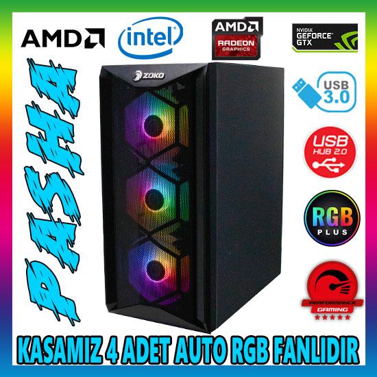 Zoko PASHA 4x12cm Autoring Rgb Fan Temper Cam Mesh Ön Panel USB 3.0 ATX Tower Profesyonel Gaming Oyuncu Bilgisayar Kasası