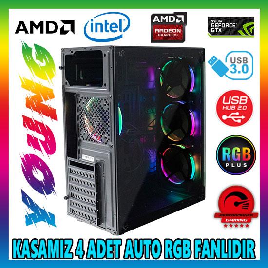 Zoko YOUNG 4x12cm Autoring Rgb Fan Temper Cam USB 3.0 ATX Tower Profesyonel Gaming Oyuncu Bilgisayar Kasası
