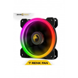 GAMETECH 8R Pro Seri Rainbow Ledli Sessiz 120mm 12cm Kasa Fanı