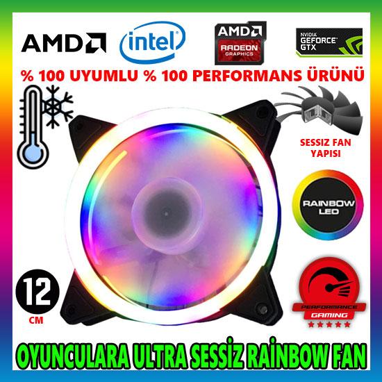MasterFox Pro Seri Rainbow Ledli Sessiz 12cm 1200Rpm Kasa Fanı