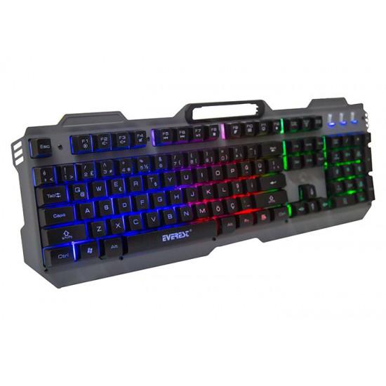 Everest KB-197 TITANIO USB Aydınlatmalı Q Metal Yüzey Gaming Oyuncu Klavyesi