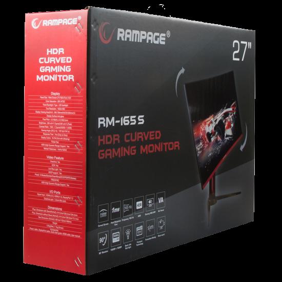 Rampage RM-165S 27inç Led 165Hz HDR Freesync CSOT VA Panel PC Curved Oyuncu Monitörü Outled
