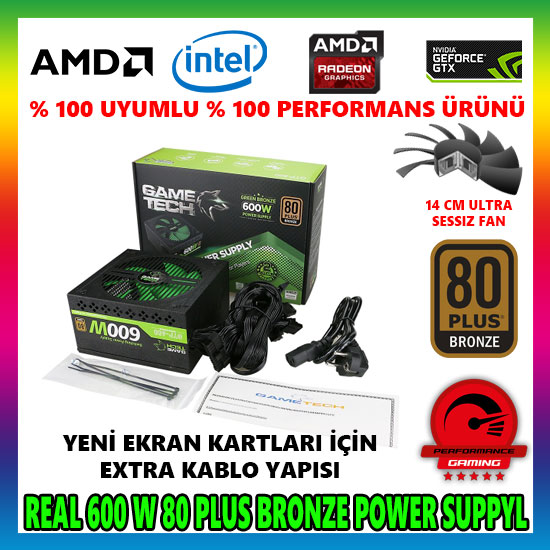 GAMETECH GTP-600 600W 80 PLUS POWER SUPPLY