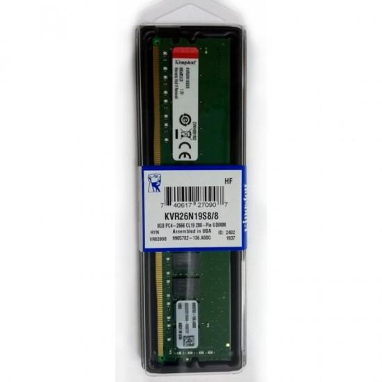 Kingston 8GB 2666 MHz DDR4 CL19 KVR26N19S8/8 Ram Bellek